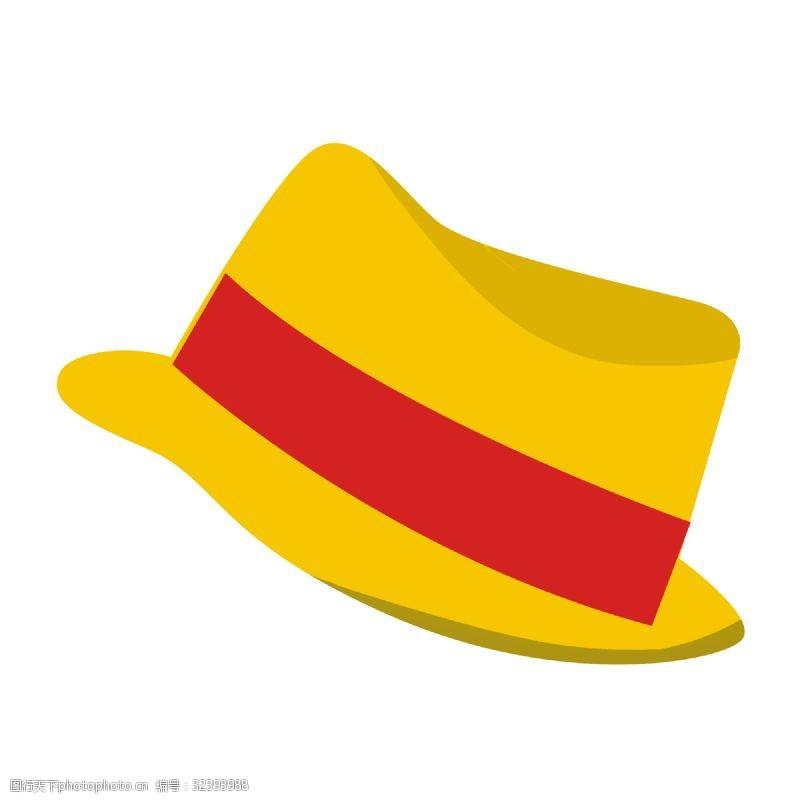 卡通矢量图案金色草帽遮阳帽免抠素材