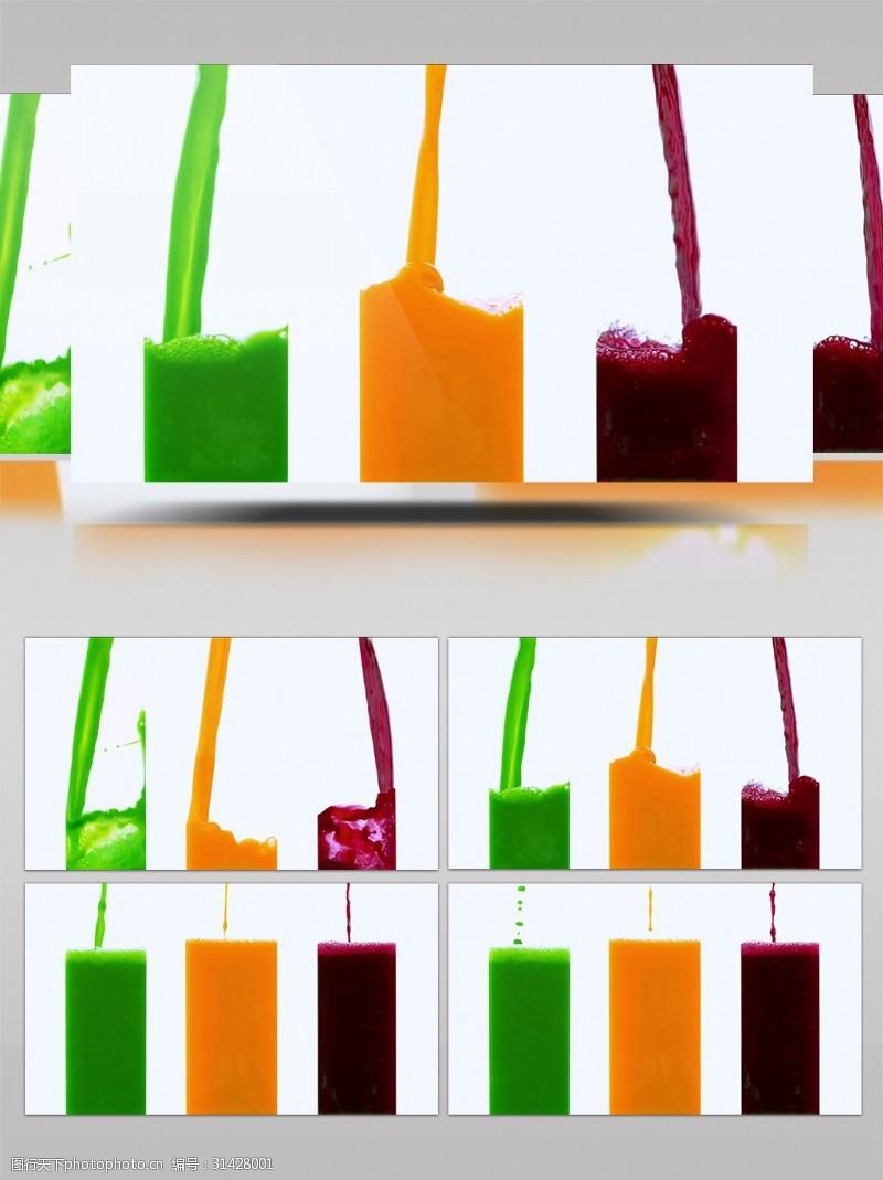 彩色水果汁饮料飞溅视频