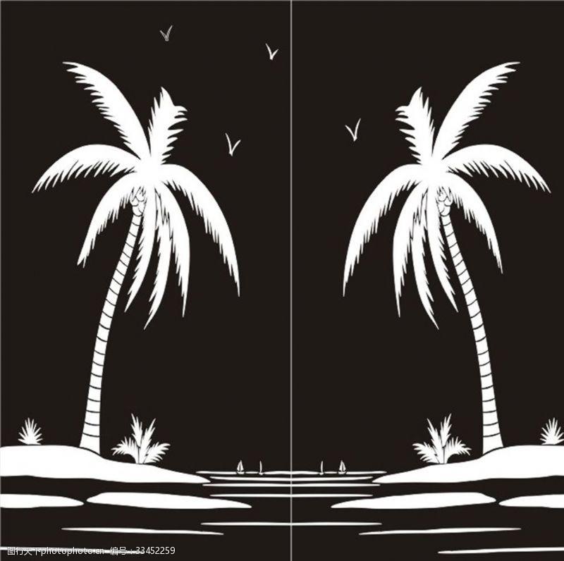 矢量花纹背景椰子树