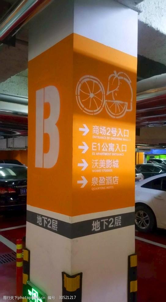 停车场涂鸦商业广场地下停车场柱体标识指示