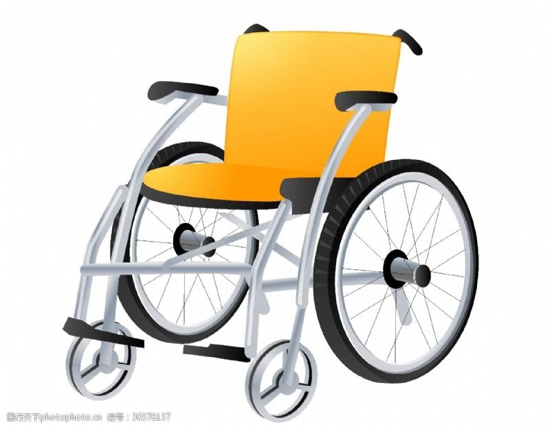 金属手把简单金属手动轮椅矢量图