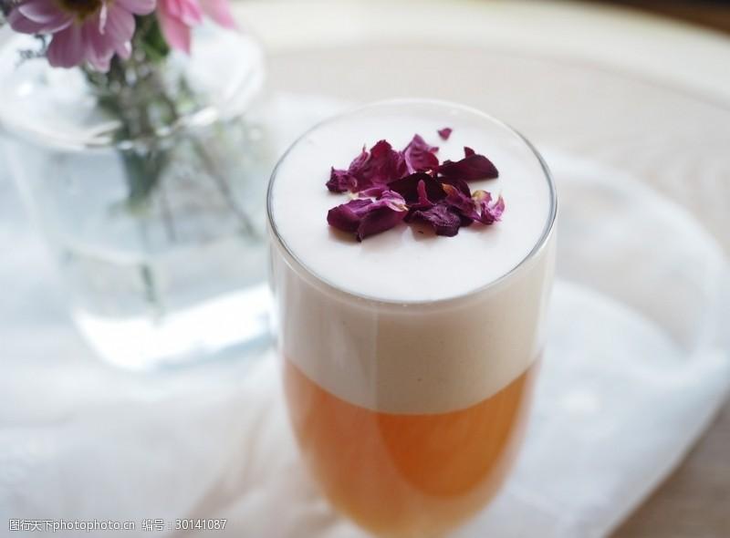 玫瑰花干花玫瑰花奶盖茶
