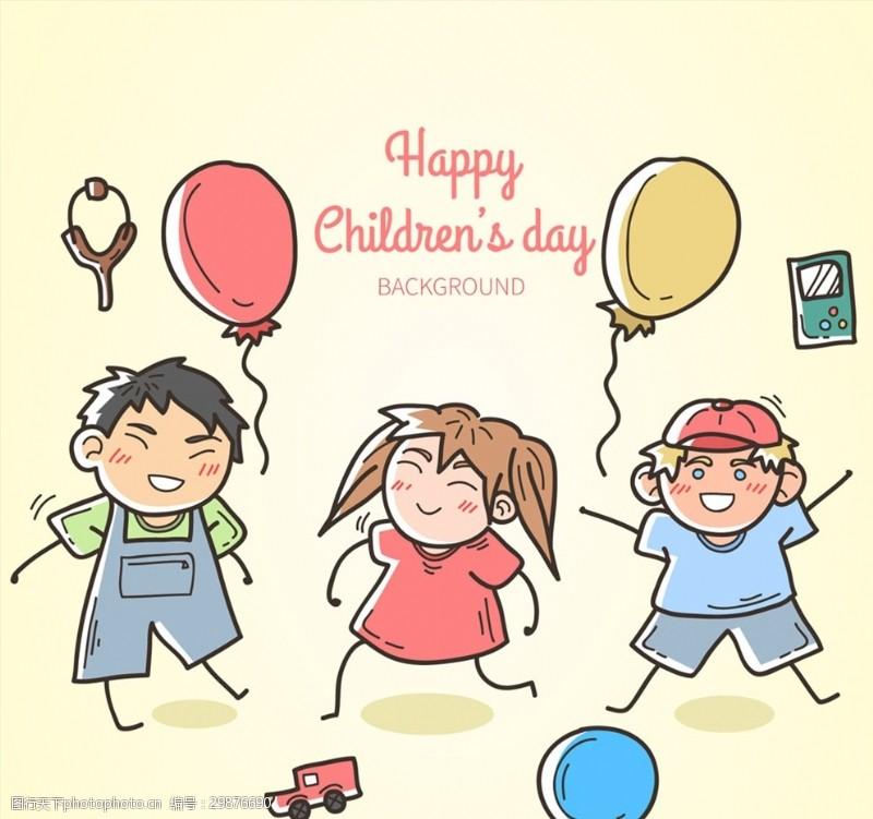 球车彩绘3个节日儿童矢量素材