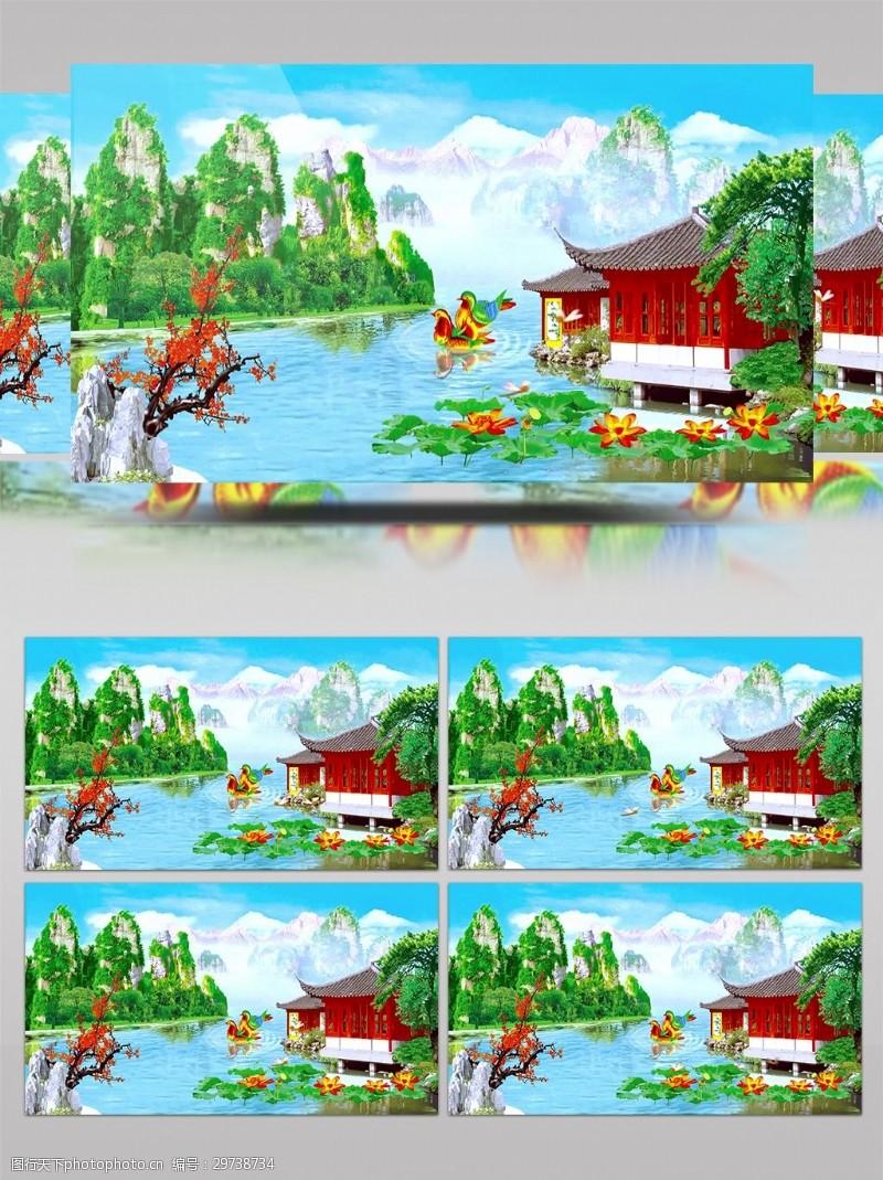梦幻荷花鸳鸯戏水蜻蜓飞舞荷花池