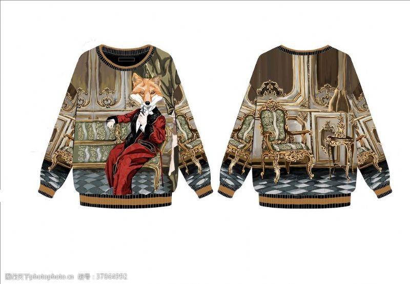 女装设计贵族狐狸头卫衣