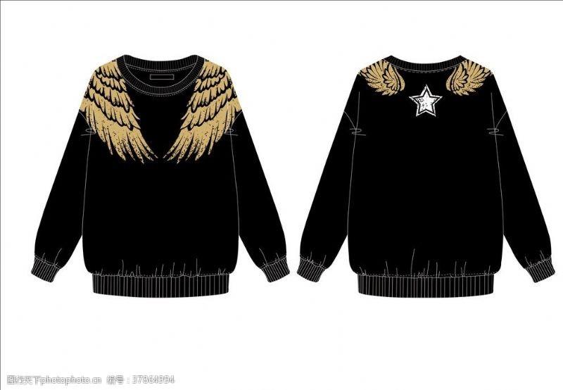 女装设计金色翅膀烫金卫衣