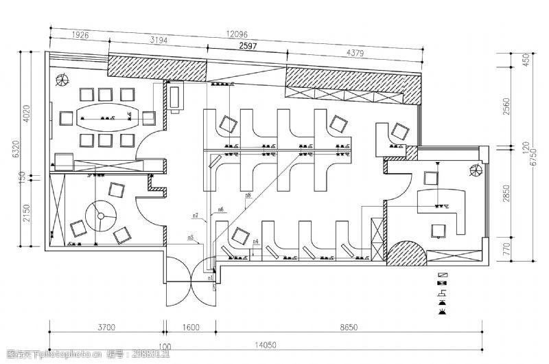 室内设计平面图简约小型办公空间室内平面布置图