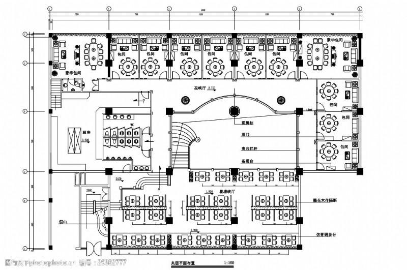 新中式餐饮空间室内设计平面图