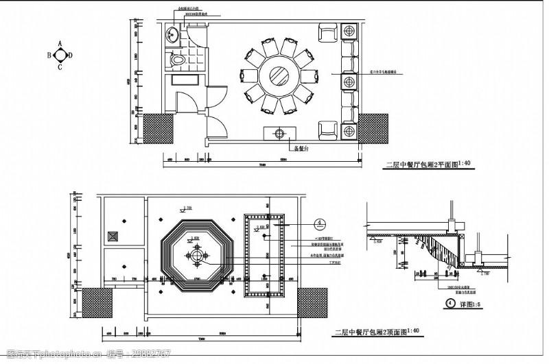 室内设计平面图中式餐厅包厢室内设计平面布置图
