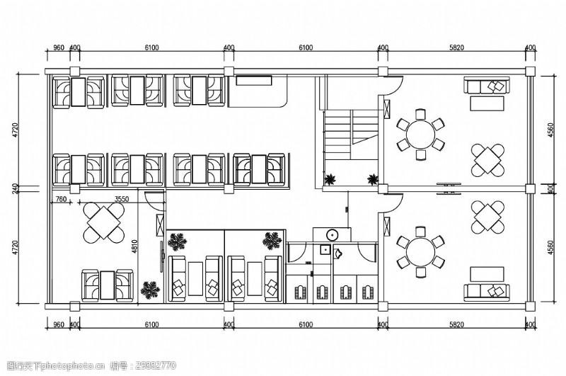 中式江南风雅苑茶楼室内设计平面图