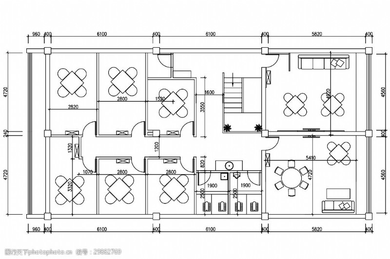 中式江南雅苑茶楼室内设计平面图