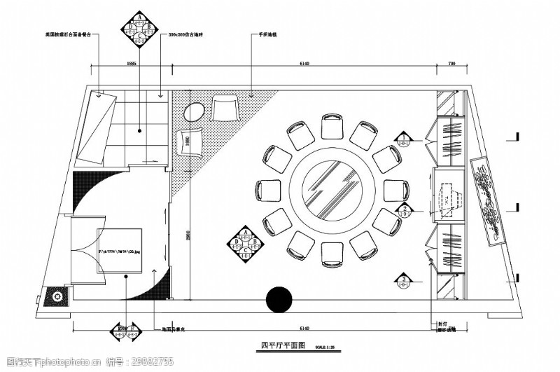 欧式餐饮包厢室内设计平面图
