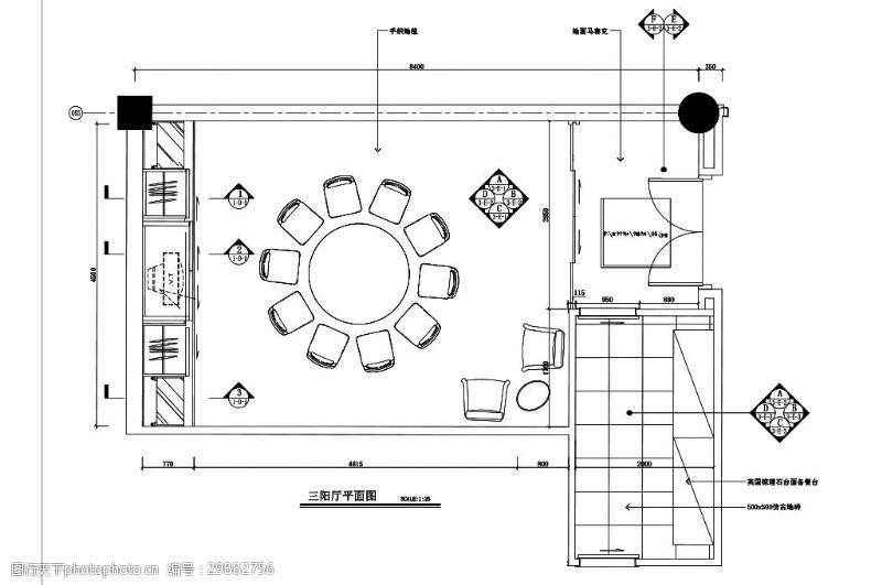 室内设计平面图中式餐饮包厢室内空间平面