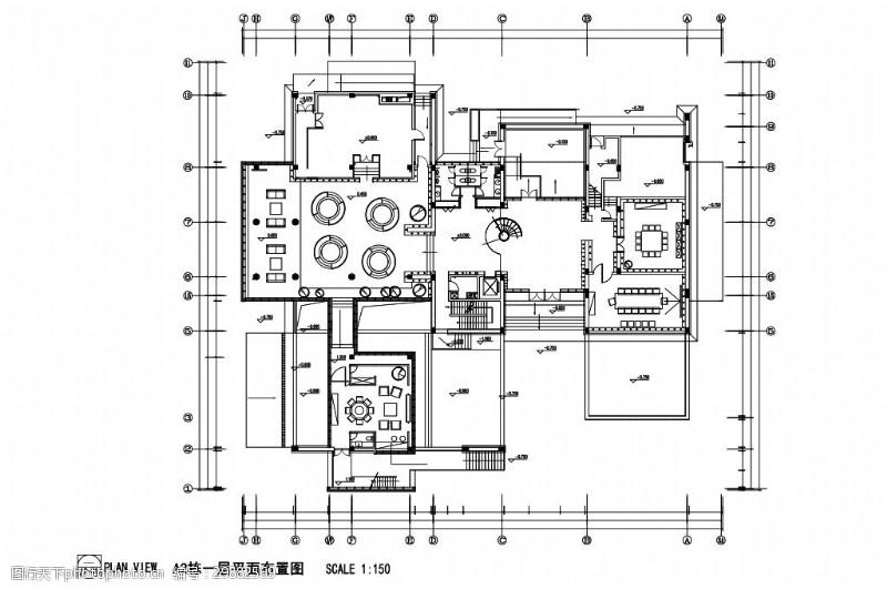 科技风办公空间室内设计平面图
