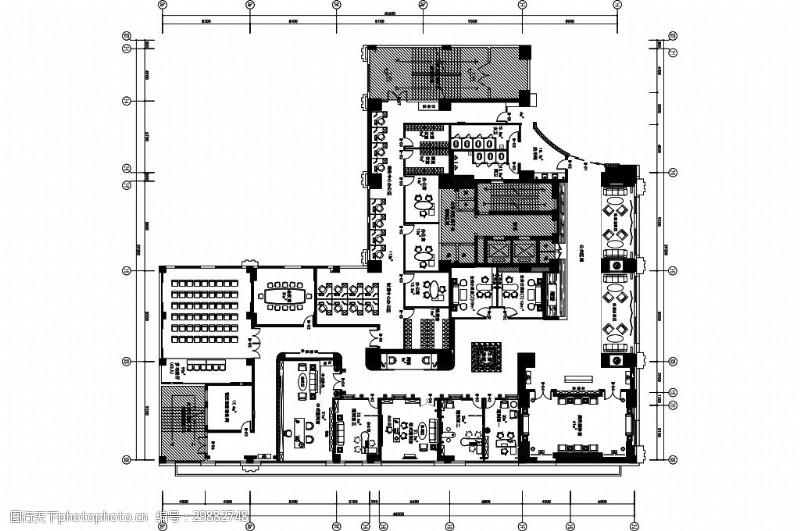 某银行办公空间室内设计平面图