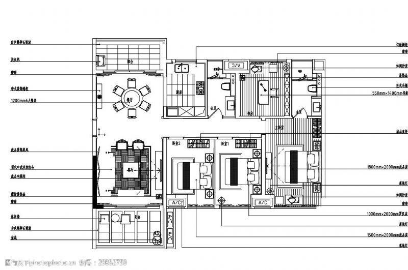 欧式四室一厅家装室内设计平面图