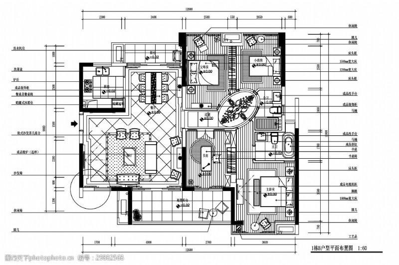 欧式四室一厅室内设计平面图
