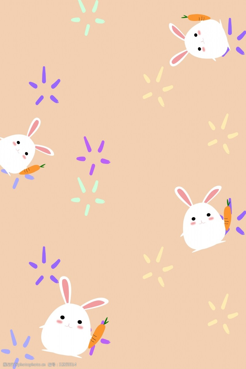 卡通风可爱小兔子底纹图