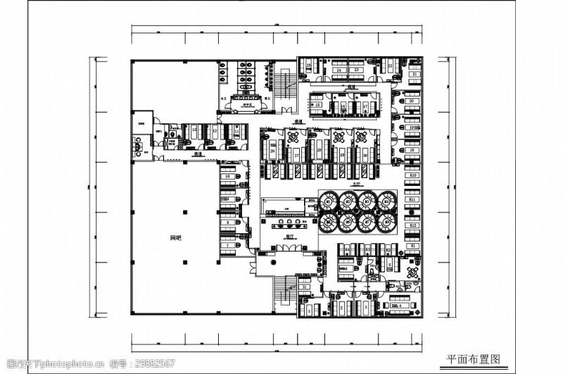 欧式咖啡馆工装室内设计平面图