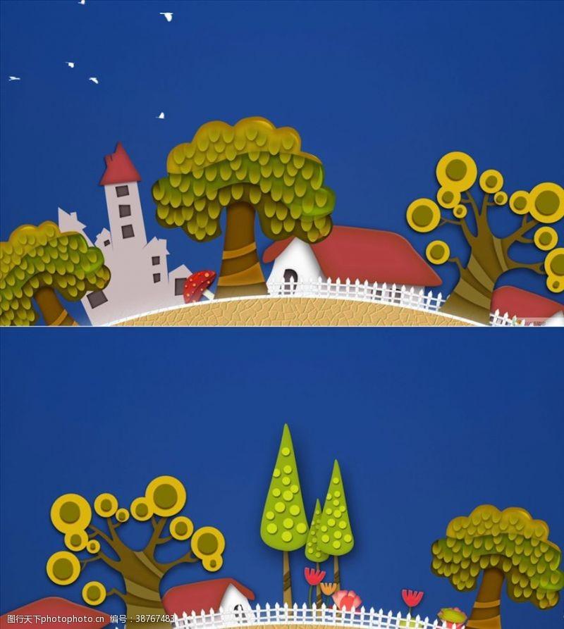 树木卡通清新卡通旋转地球小屋树木视频