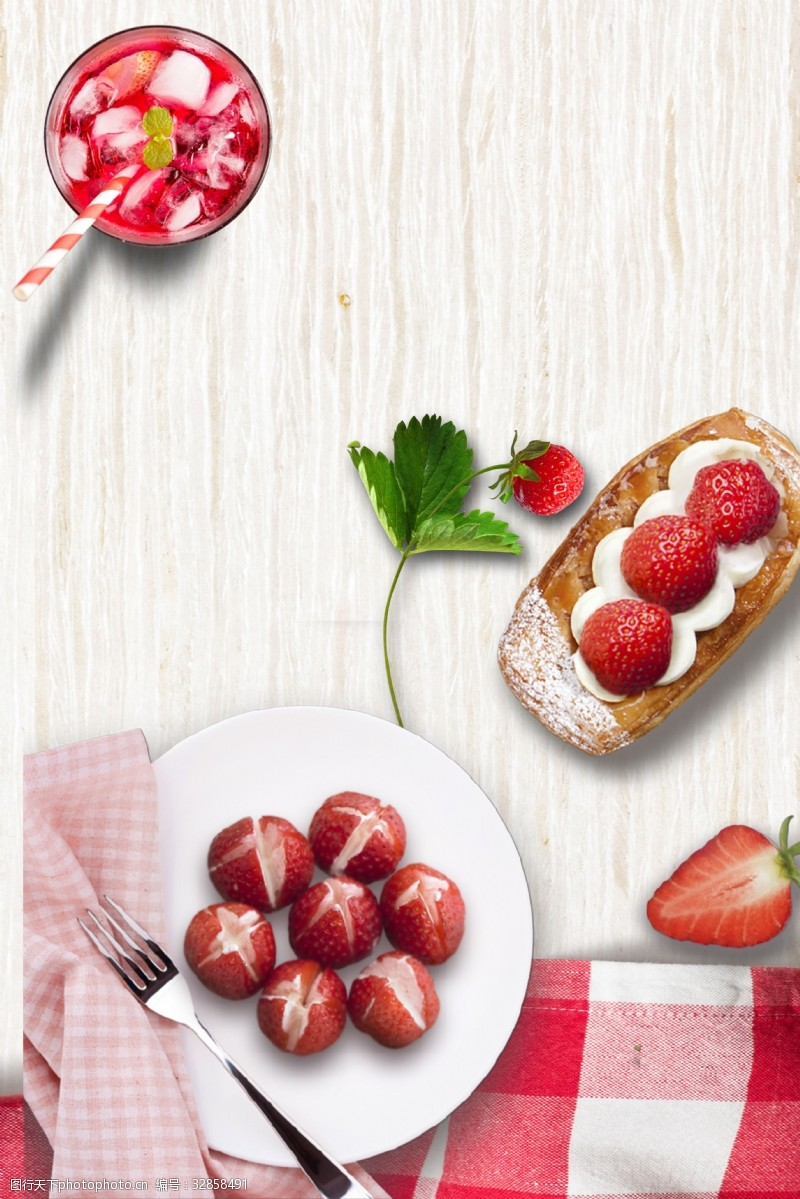甜蜜粉色甜点草莓糕点下午茶