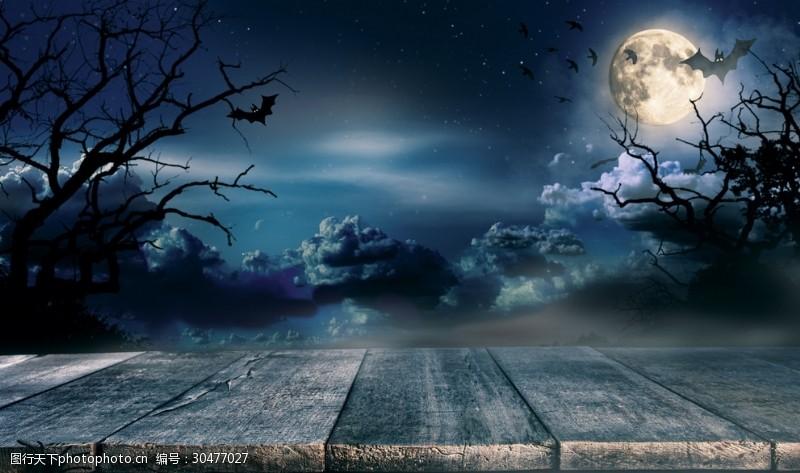 鬼节背景万圣节夜空背景素材