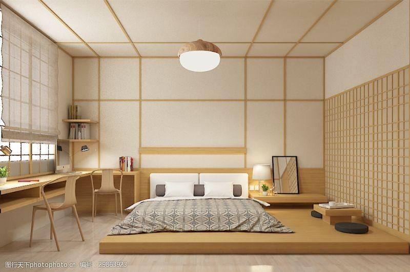 工作空间日系和风简约现代卧室效果图