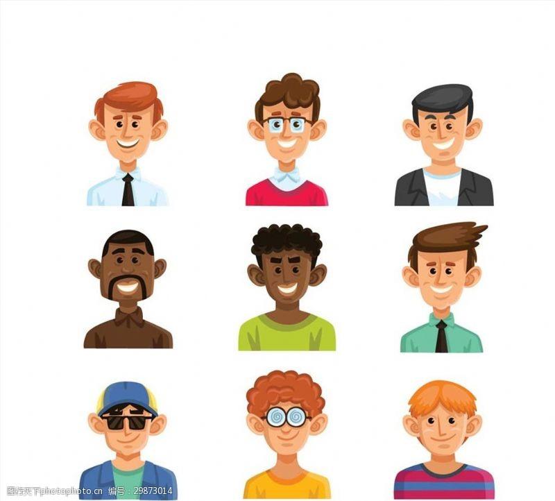 9款卡通笑脸男子头像矢量素材
