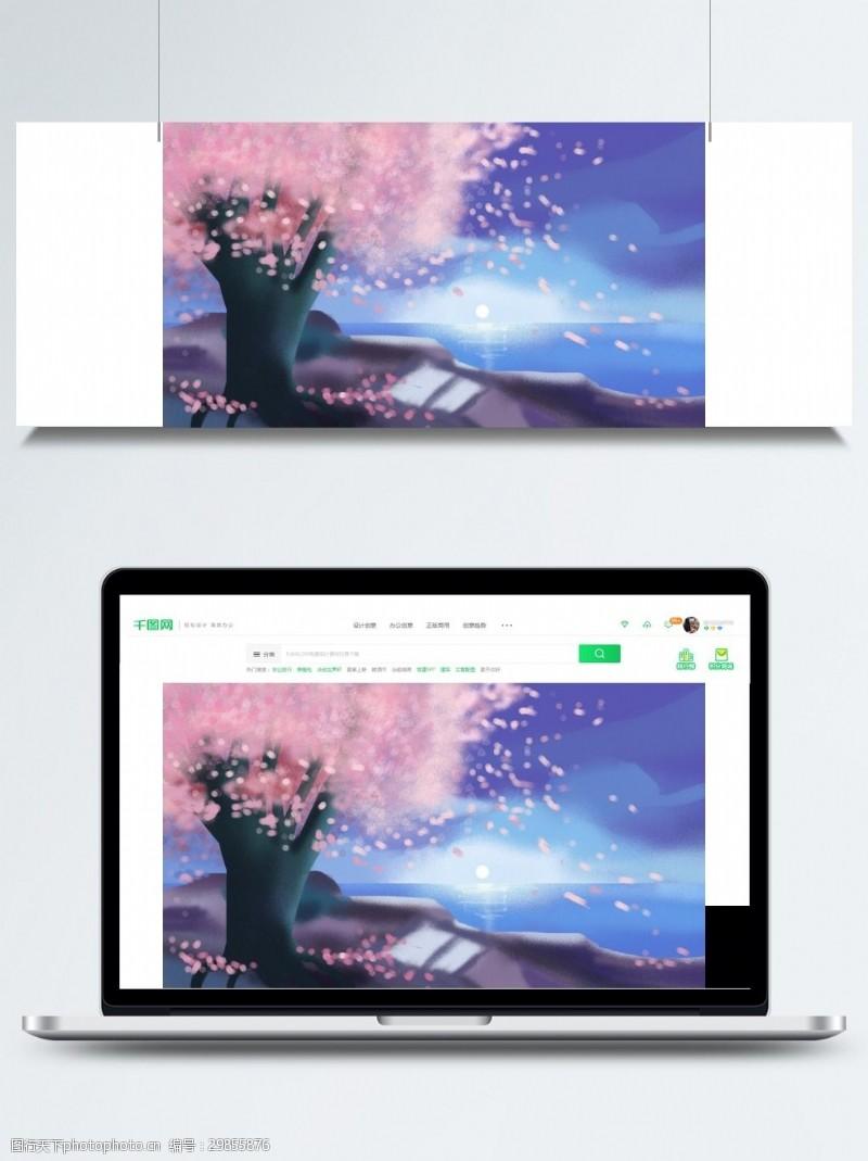 樱花广告唯美樱花树花瓣背景素材
