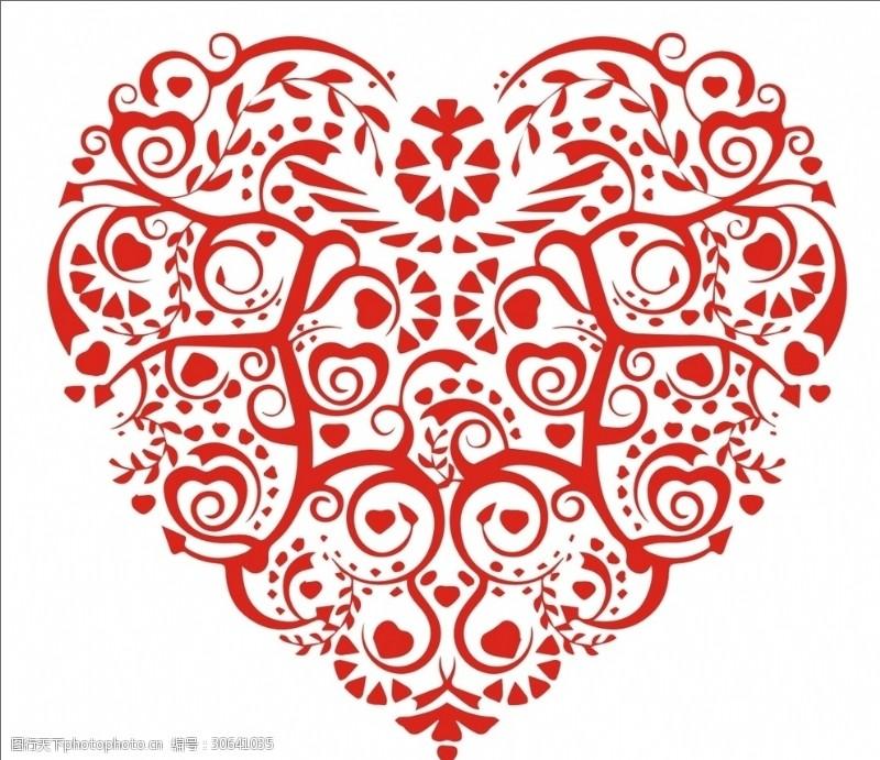 心形树叶红心艺术花纹