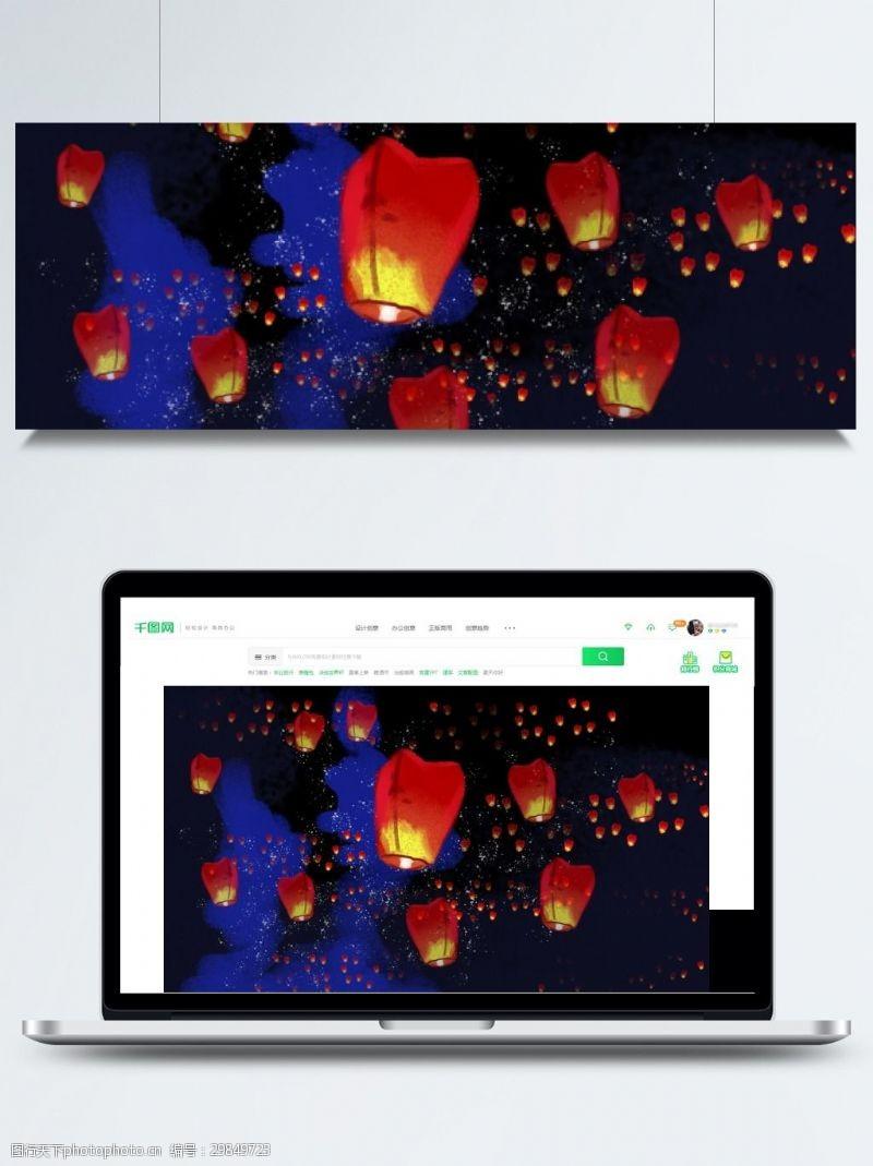七月十五背景传统中元节鬼节灯笼背景素材
