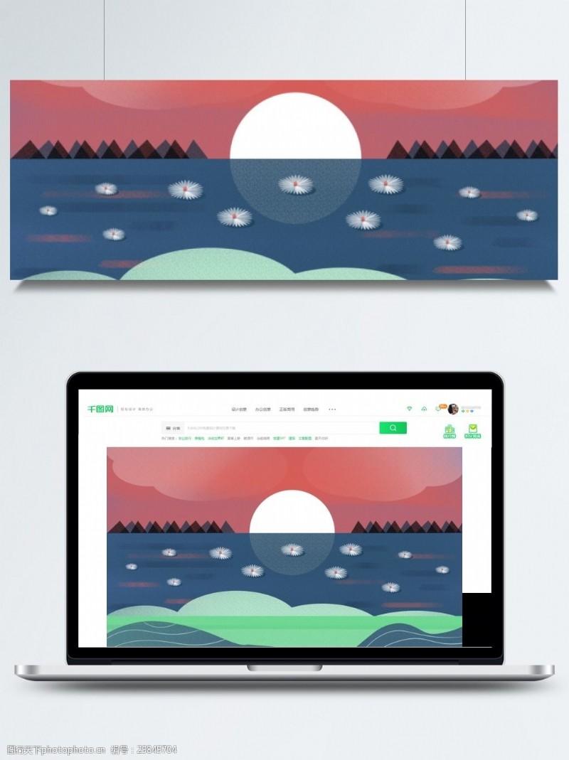 七月十五背景传统中元节海面荷叶灯圆月背景素材