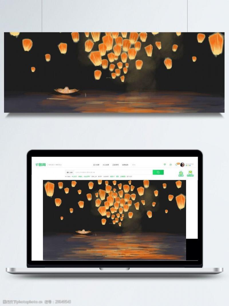 七月十五背景简约中元节海上孔明灯背景素材