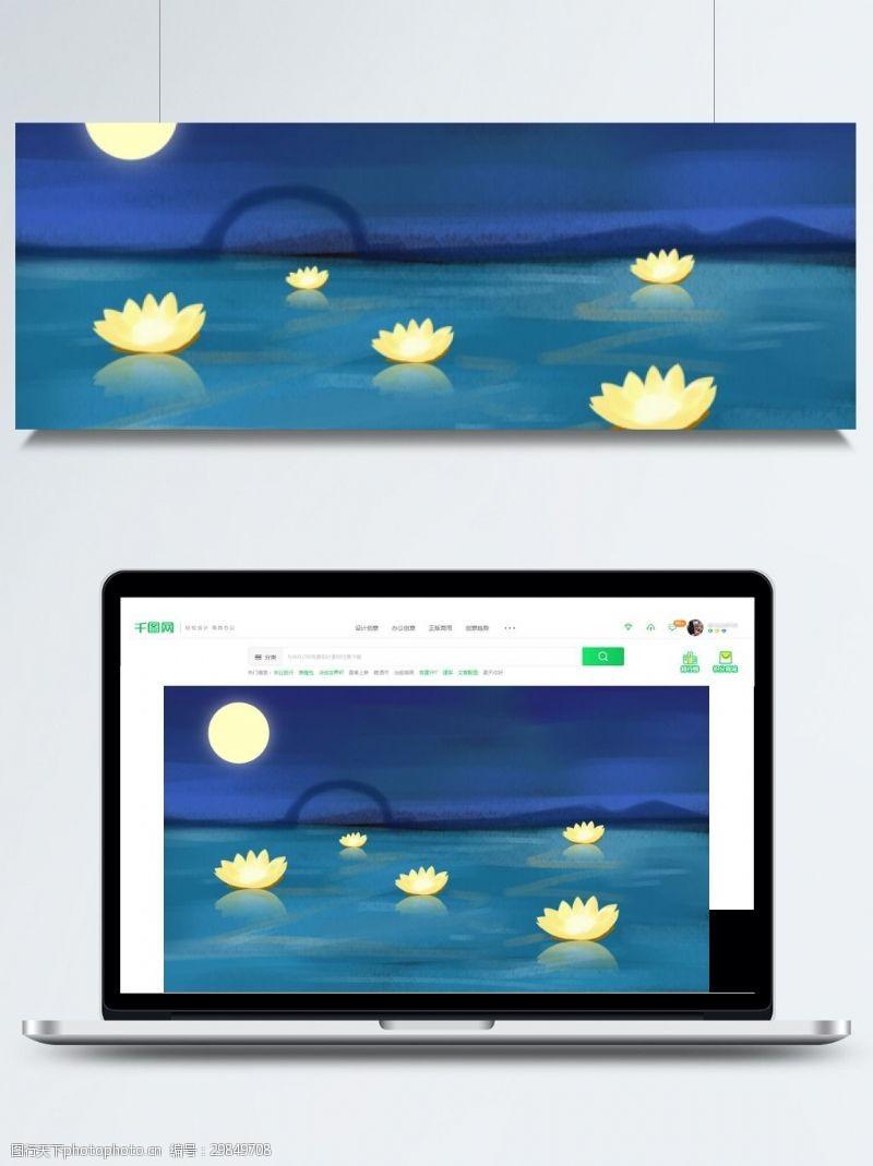 七月十五背景唯美中元节海上荷叶灯背景素材