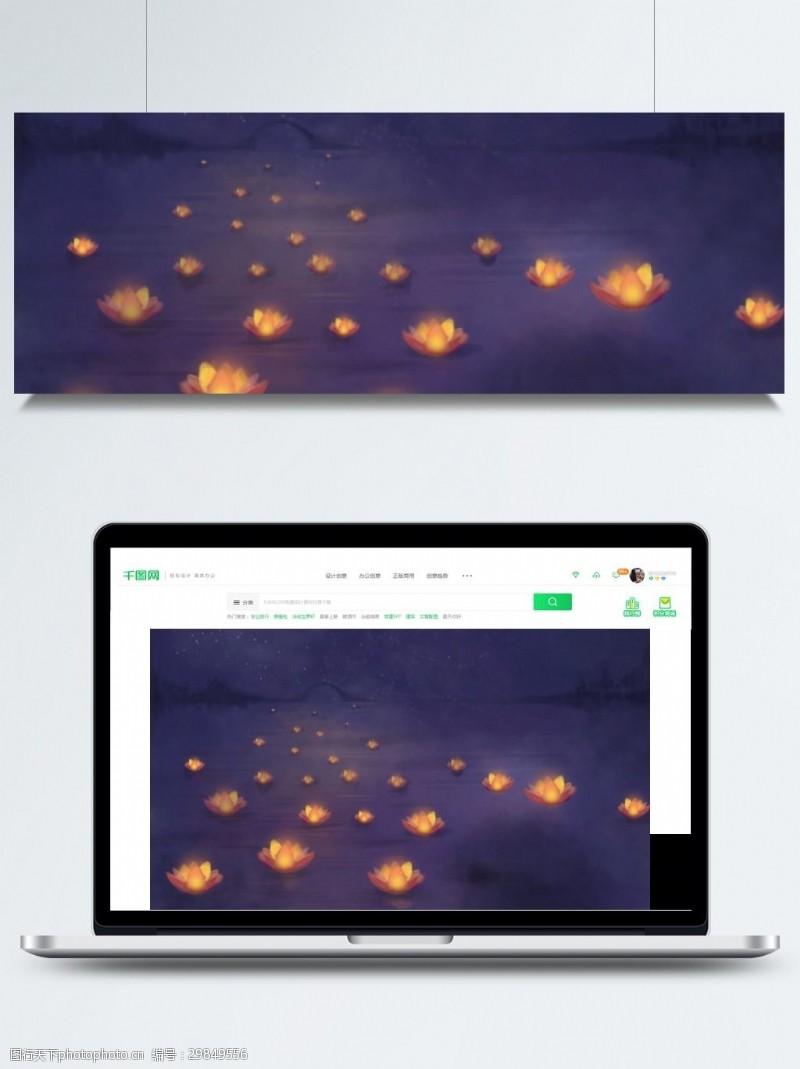 七月十五背景中元节海面荷叶灯背景素材