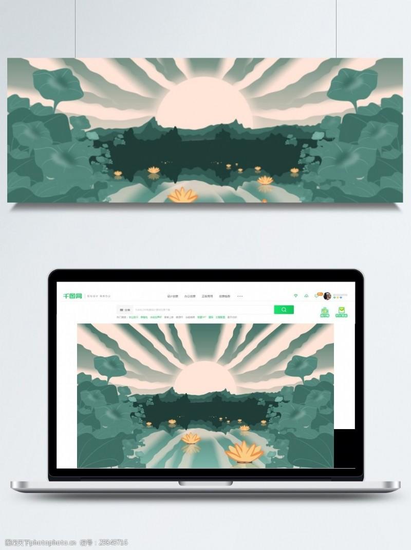 七月十五背景中元节荷塘莲灯banner背景素材