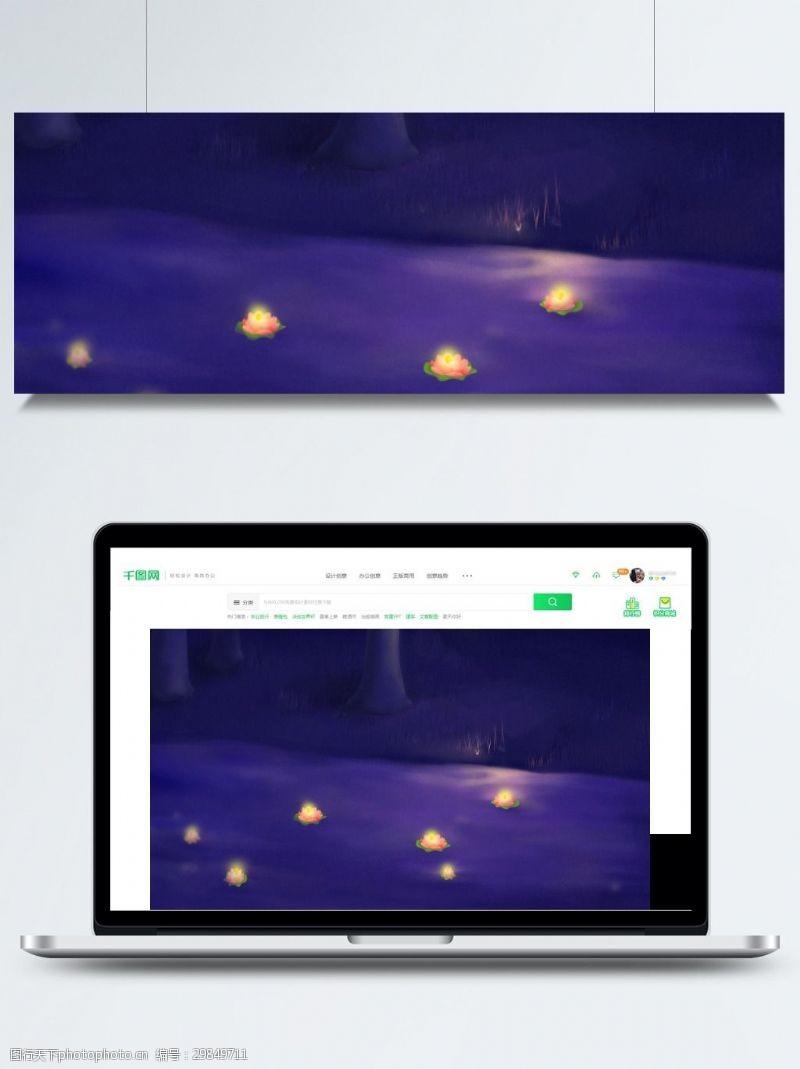 七月十五背景紫色中元节荷叶背景素材