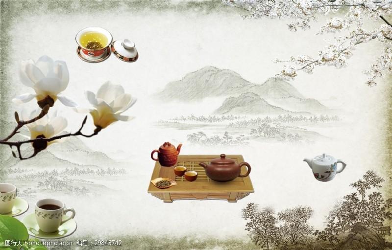 手绘水墨古典茶道背景