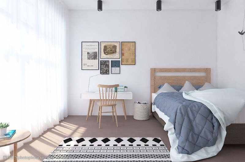 工作空间北欧极简单人卧室书房效果图
