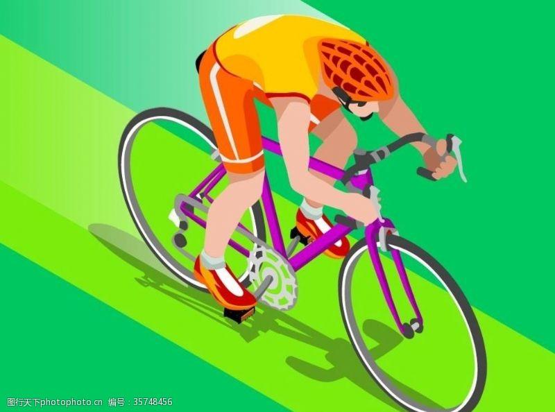 体育比赛矢量夏季自行车运动比赛插画素材