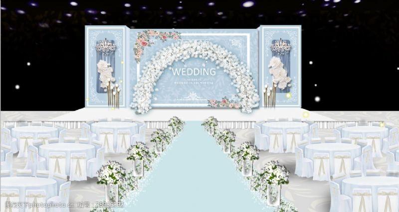 淡蓝色小清新欧式舞台婚礼效果图