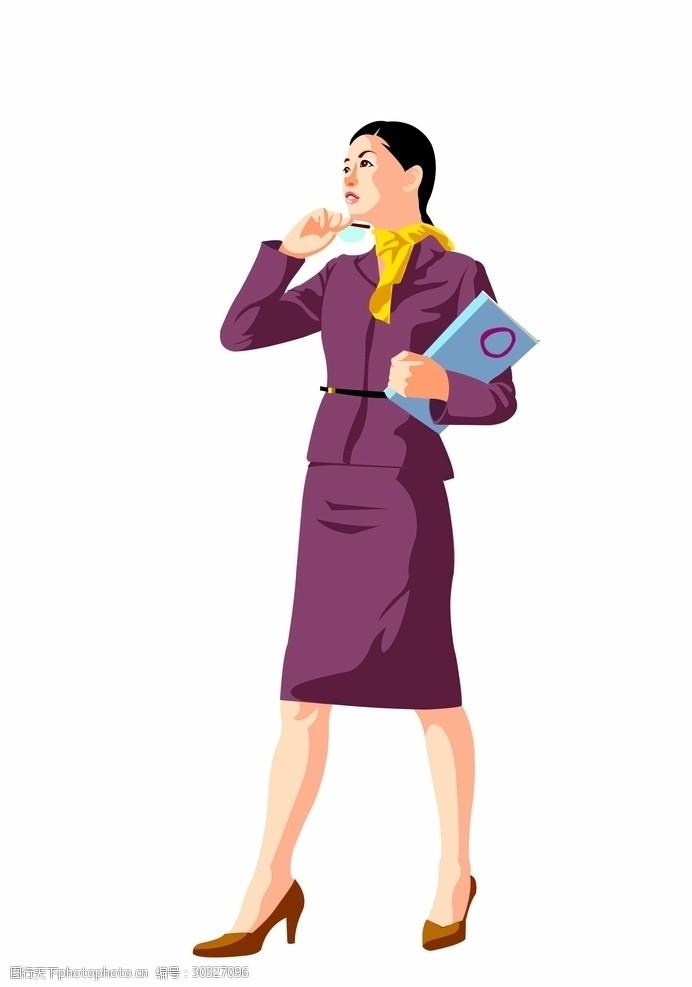 商务美女卡通人物职业女性