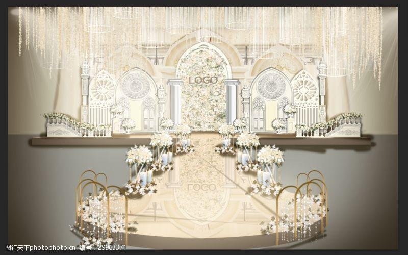 欧式舞台浪漫欧式婚礼现场布置效果图