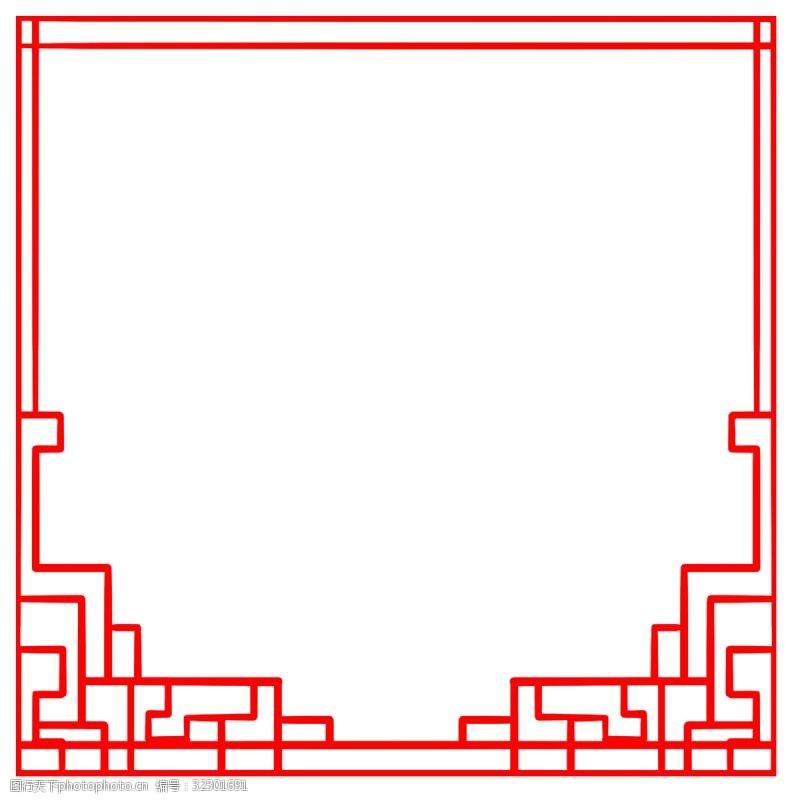 古典图红色古风边框插画