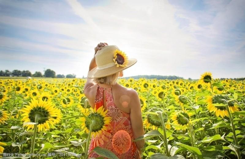 阳光美女满园向日葵