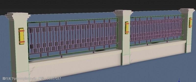 铁艺围墙铁艺栏杆模型